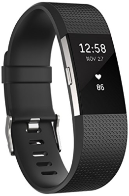 Fitbit Charge 2 Heart Rate and Fitness Wrist Band, schwarz, Large -