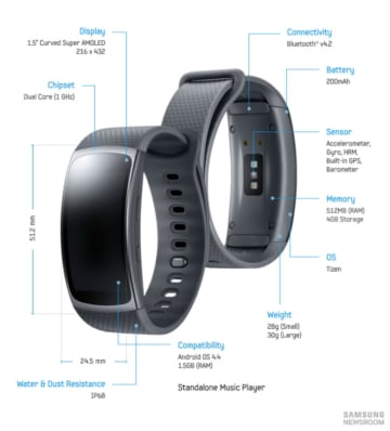 Samsung Gear Fit 2 - Specs