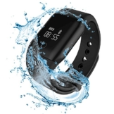 winbridge Wasserdicht Smart Bluetooth-Armband Integrierter, Blut Sauerstoff Herzfrequenz Sleep Monitor Sports Fitness Tracker kompatibel mit Android und iOS, schwarz -